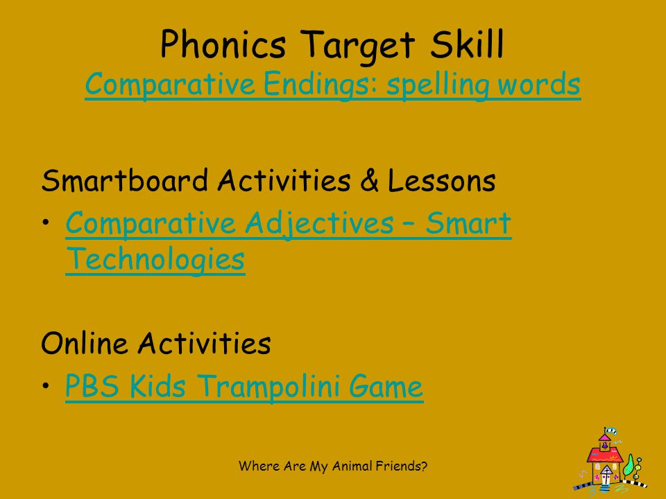 Phonics Target Skill Comparative Endings: spelling words