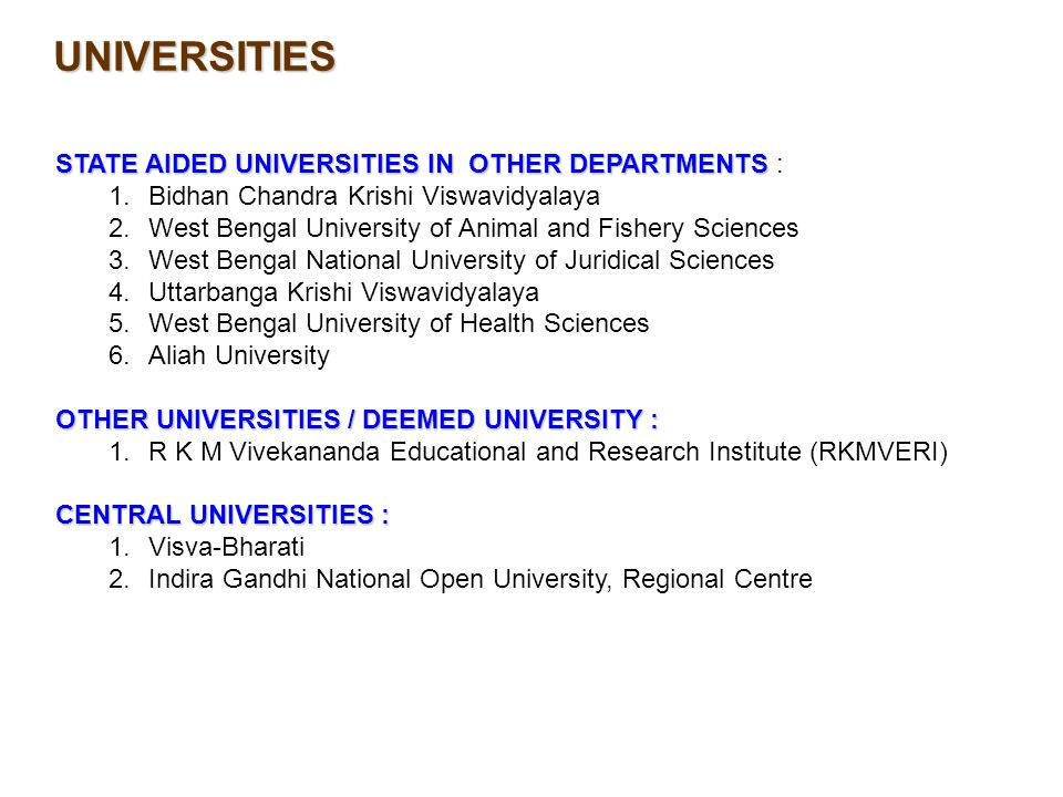 UNIVERSITIES STATE AIDED UNIVERSITIES IN OTHER DEPARTMENTS :