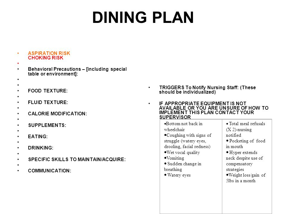 DINING PLAN ASPIRATION RISK CHOKING RISK