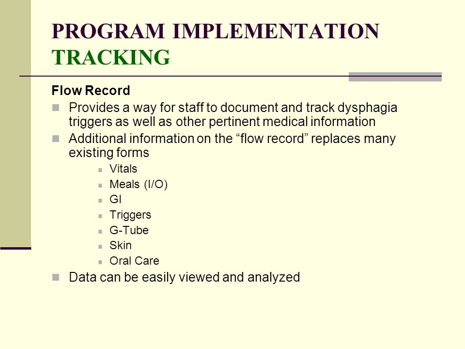 PROGRAM IMPLEMENTATION TRACKING