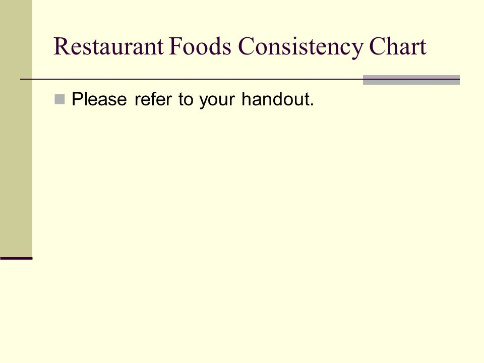 Restaurant Foods Consistency Chart