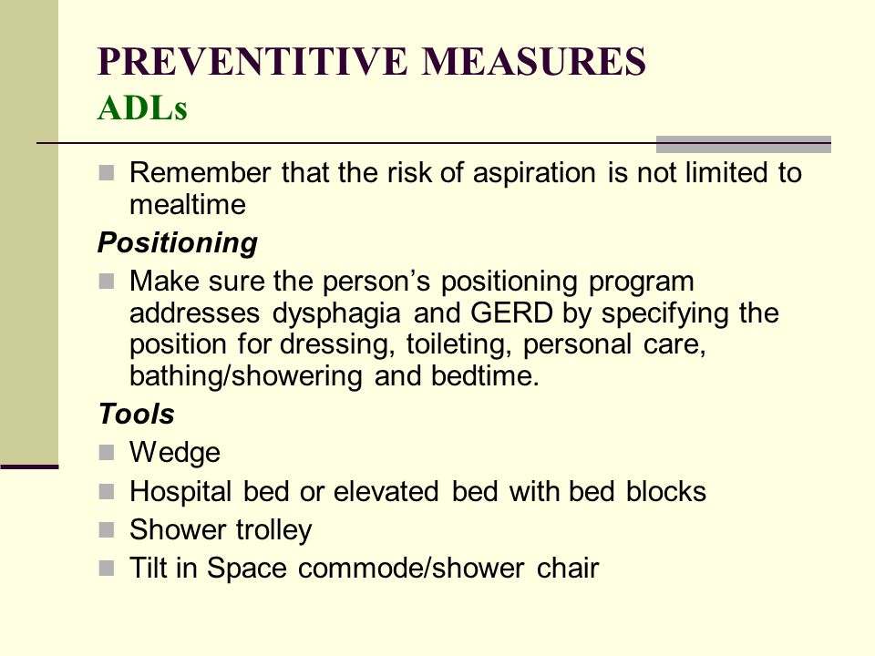 PREVENTITIVE MEASURES ADLs