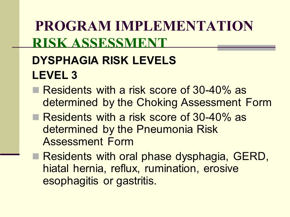 PROGRAM IMPLEMENTATION RISK ASSESSMENT