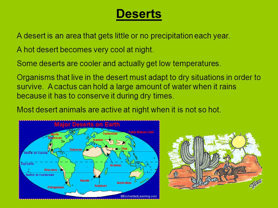 Deserts A desert is an area that gets little or no precipitation each year. A hot desert becomes very cool at night.