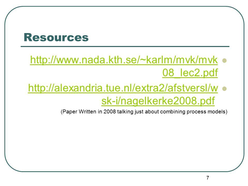Resources http://www.nada.kth.se/~karlm/mvk/mvk08_lec2.pdf