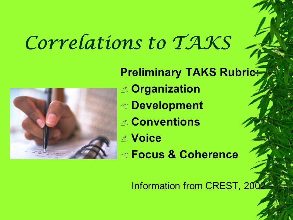 Correlations to TAKS Preliminary TAKS Rubric: Organization Development