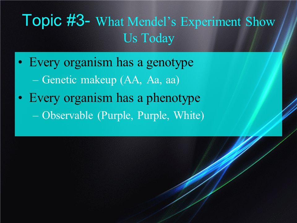 Topic #3- What Mendel's Experiment Show Us Today