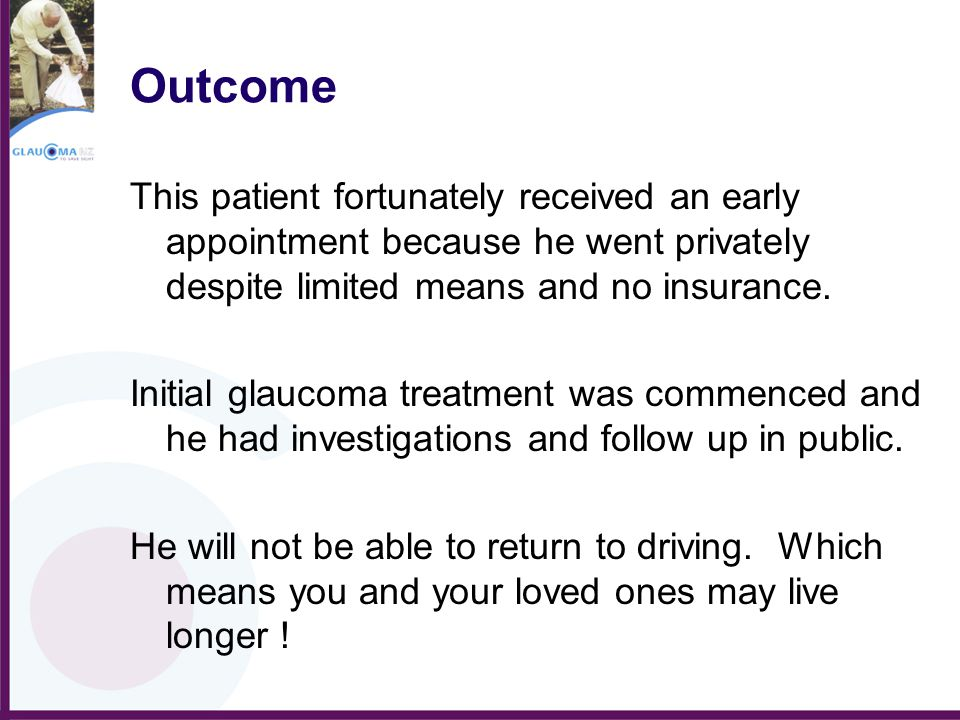 Outcome This patient fortunately received an early appointment because he went privately despite limited means and no insurance.