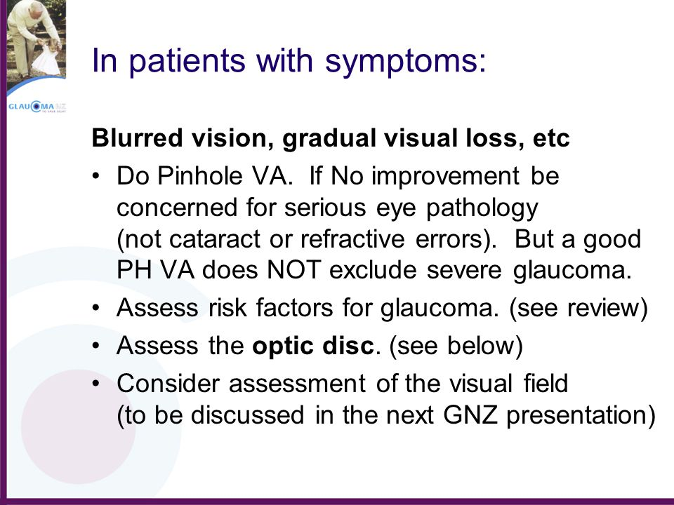 In patients with symptoms: