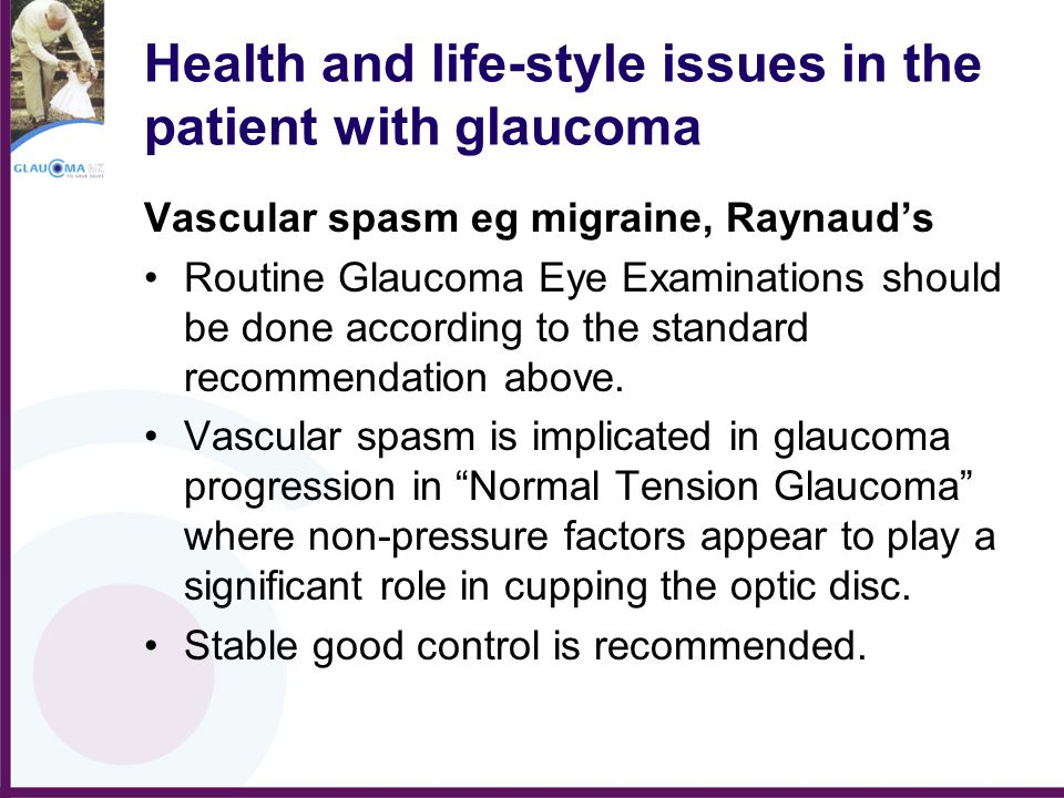 Health and life-style issues in the patient with glaucoma