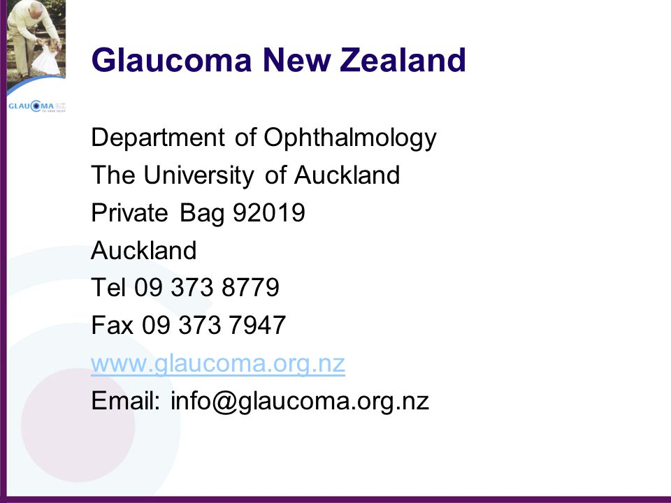 Glaucoma New Zealand Department of Ophthalmology