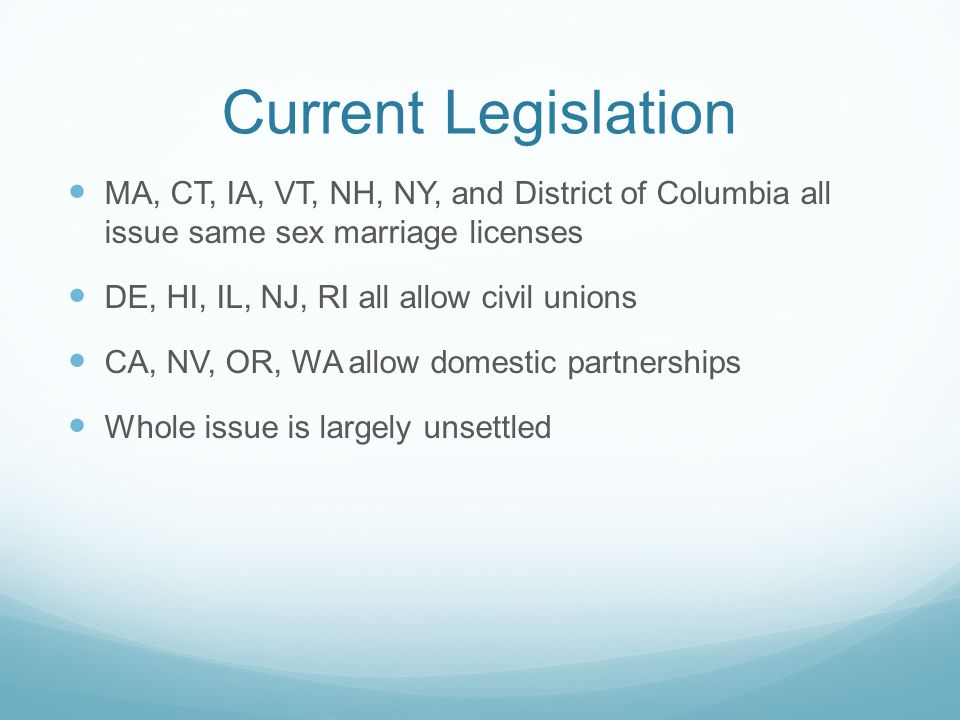 Current Legislation MA, CT, IA, VT, NH, NY, and District of Columbia all issue same sex marriage licenses.
