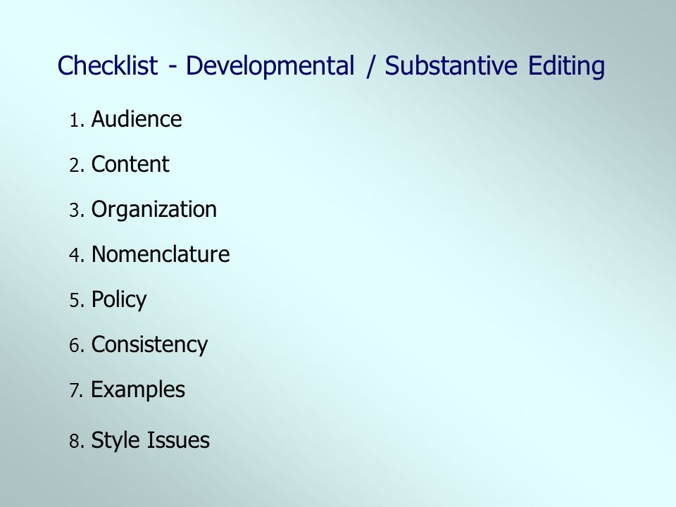 Checklist - Developmental / Substantive Editing