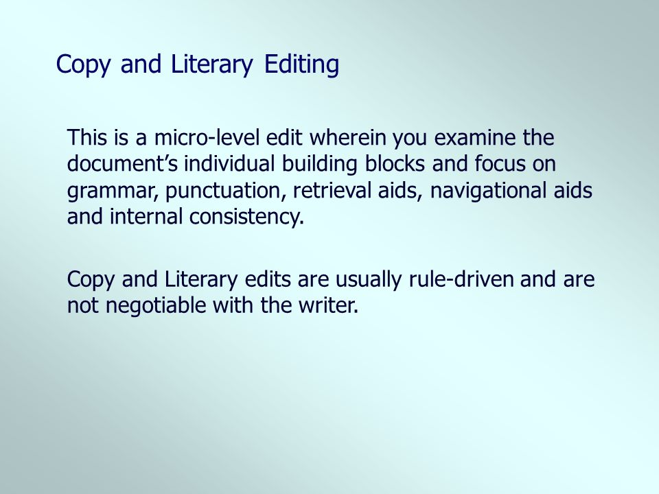 Copy and Literary Editing
