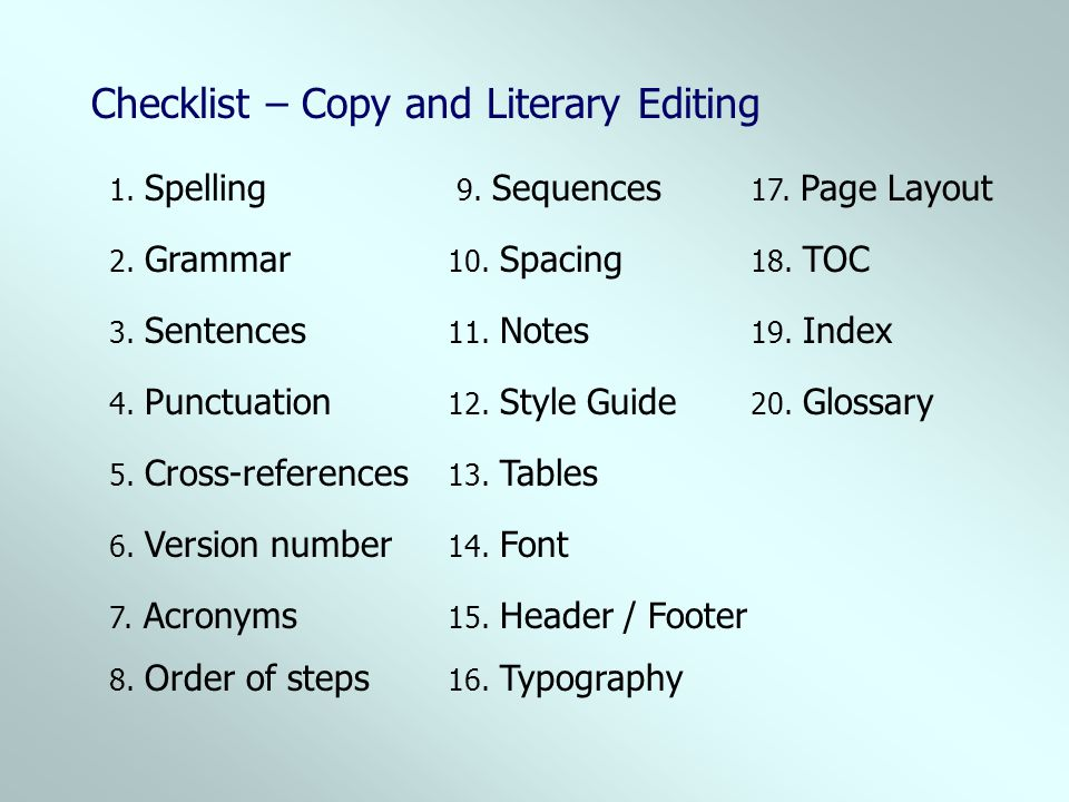 Checklist – Copy and Literary Editing