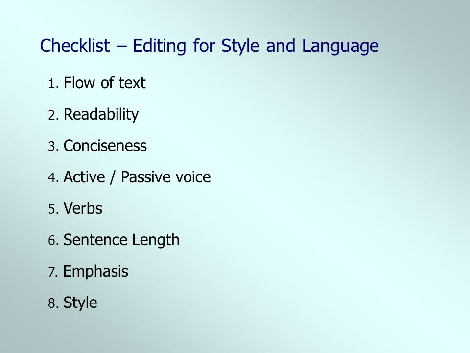 Checklist – Editing for Style and Language