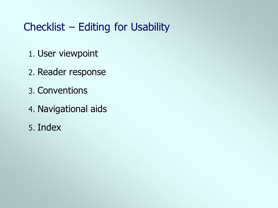 Checklist – Editing for Usability