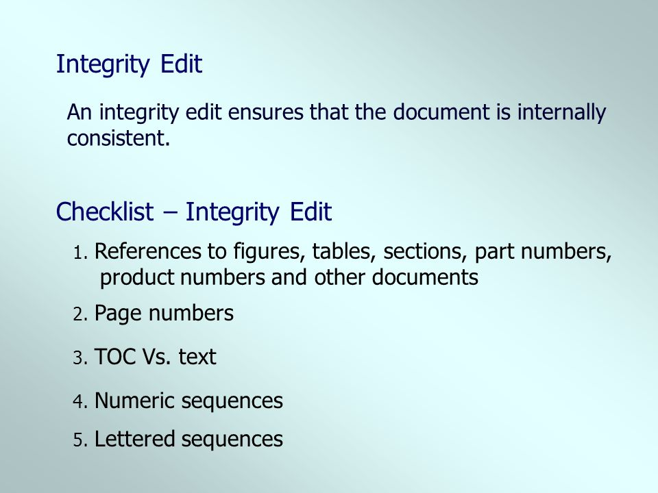 Checklist – Integrity Edit