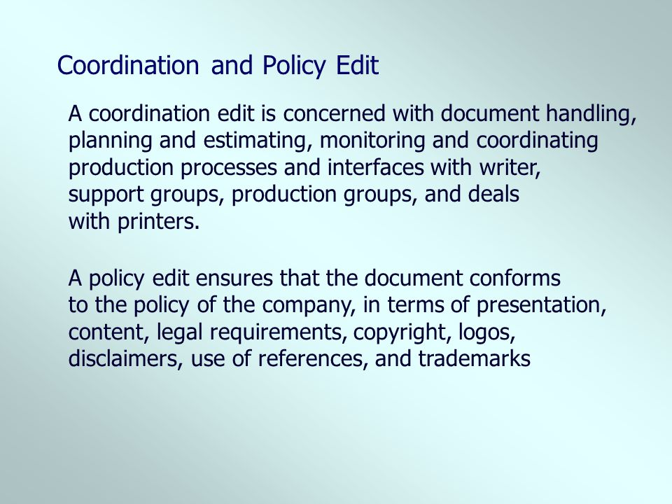 Coordination and Policy Edit
