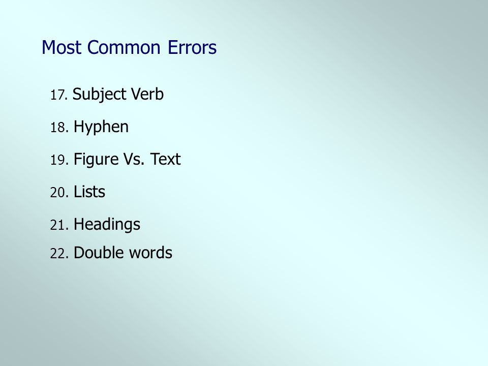 Most Common Errors 17. Subject Verb 18. Hyphen 19. Figure Vs. Text