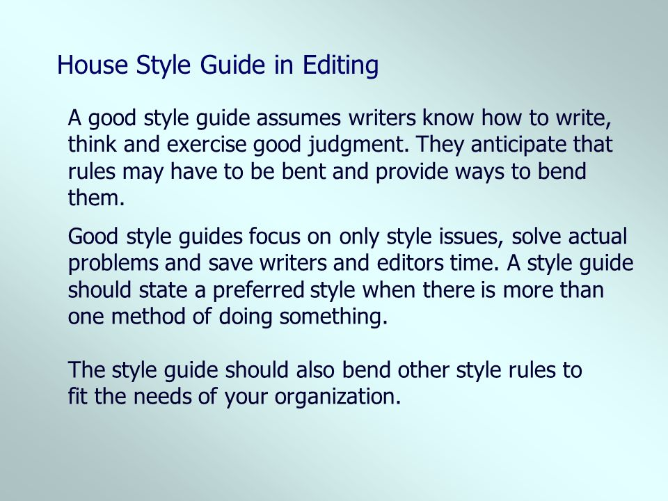 House Style Guide in Editing