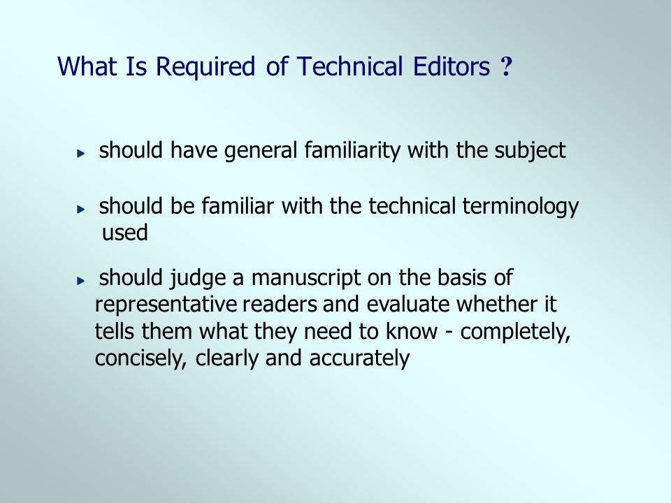 What Is Required of Technical Editors