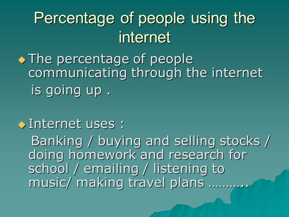 Percentage of people using the internet
