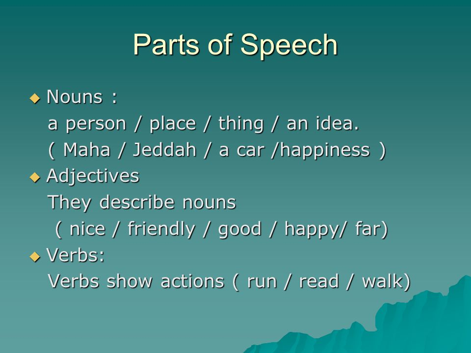 Parts of Speech Nouns : a person / place / thing / an idea.