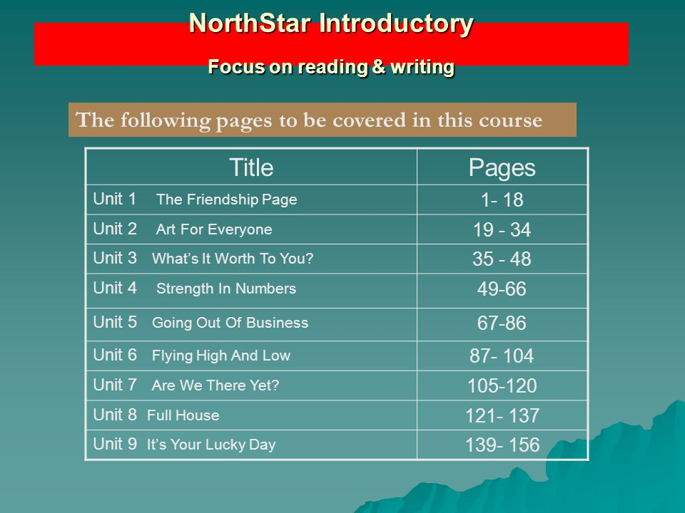NorthStar Introductory Focus on reading & writing