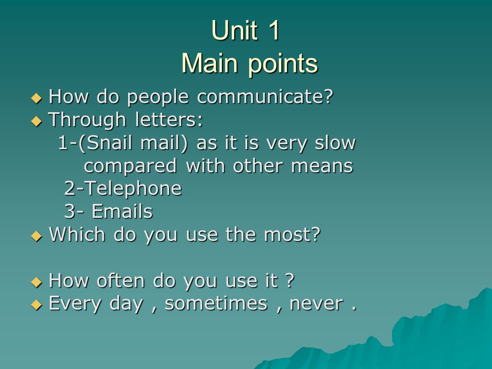 Unit 1 Main points How do people communicate Through letters: