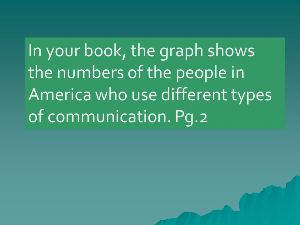 In your book, the graph shows the numbers of the people in America who use different types of communication.