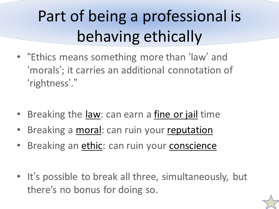 Part of being a professional is behaving ethically