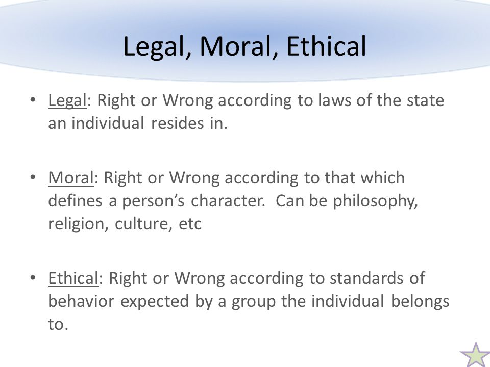 Legal, Moral, Ethical Legal: Right or Wrong according to laws of the state an individual resides in.