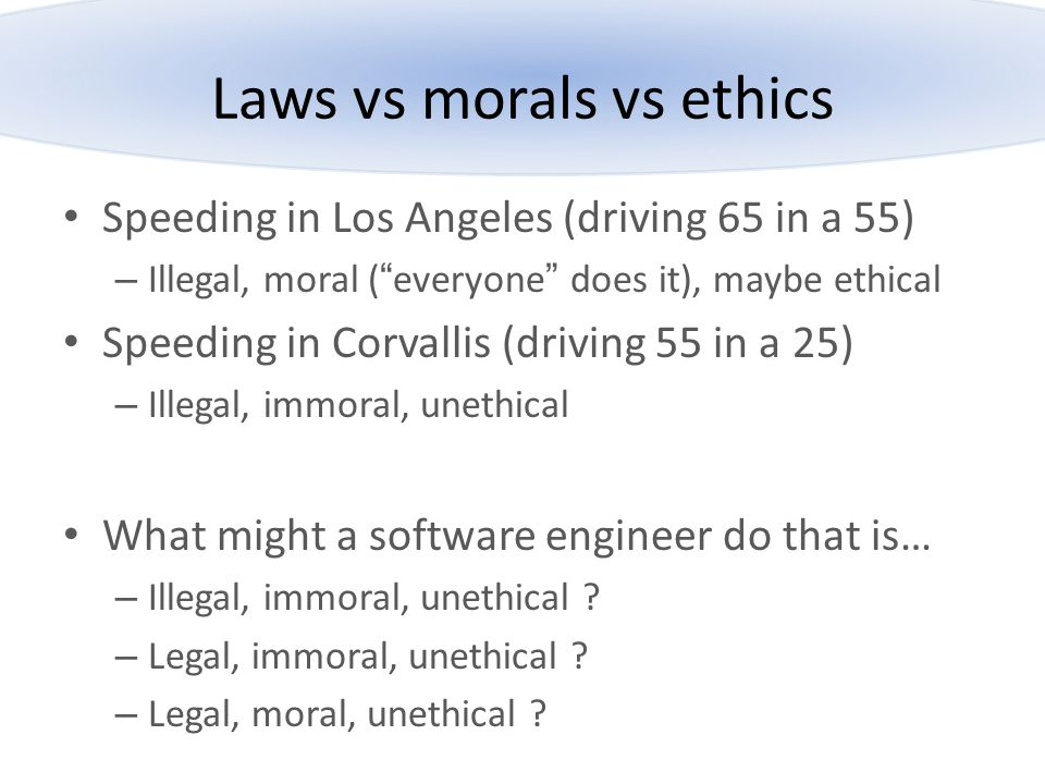Laws vs morals vs ethics