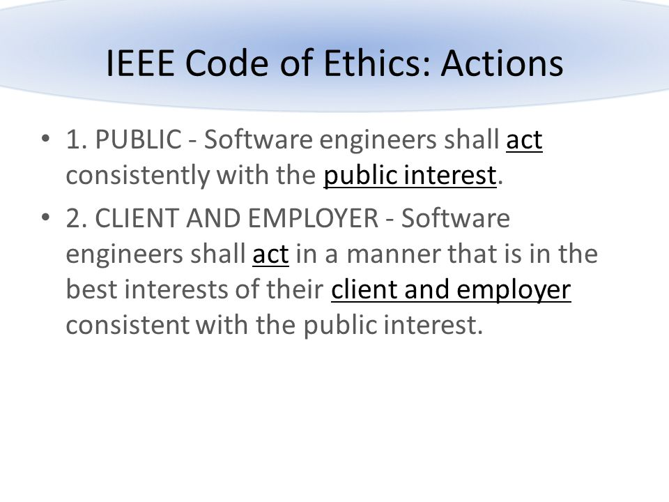IEEE Code of Ethics: Actions