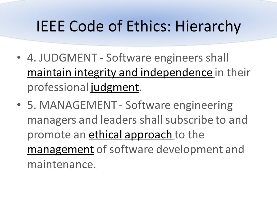 IEEE Code of Ethics: Hierarchy