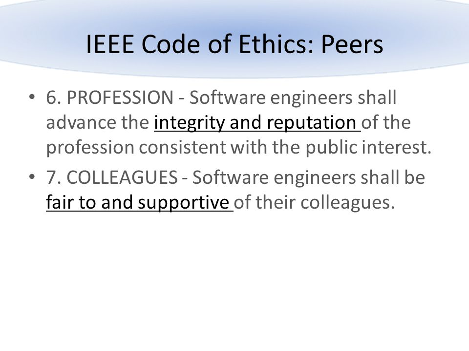 IEEE Code of Ethics: Peers