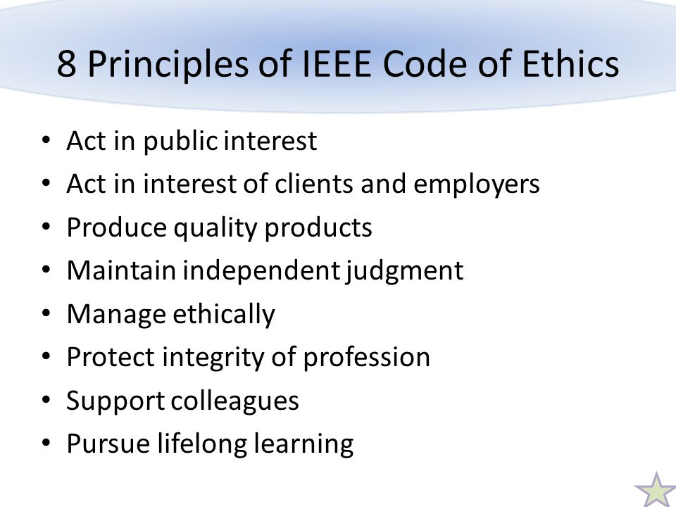 8 Principles of IEEE Code of Ethics