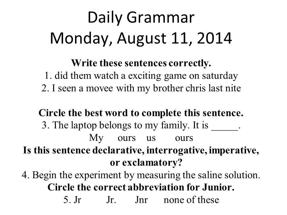 Daily Grammar Monday, August 11, 2014
