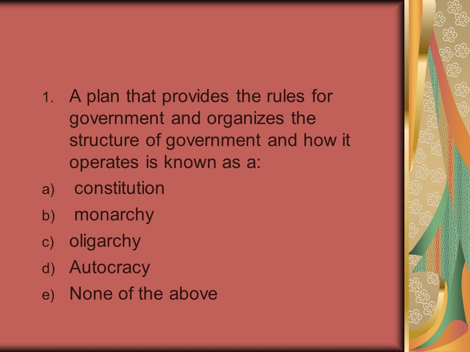 A plan that provides the rules for government and organizes the structure of government and how it operates is known as a: