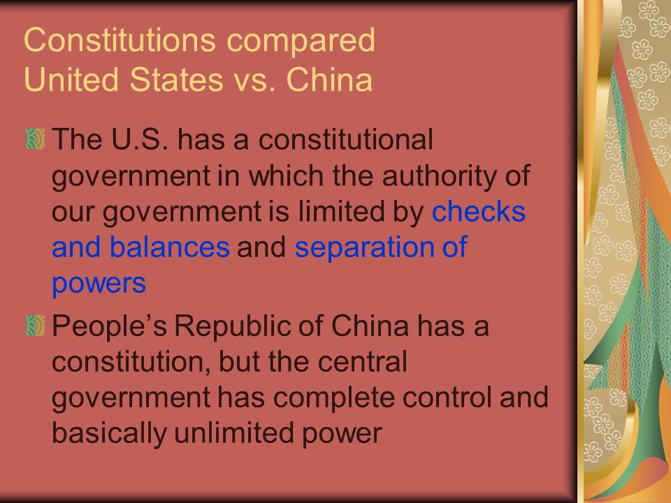 Constitutions compared United States vs. China