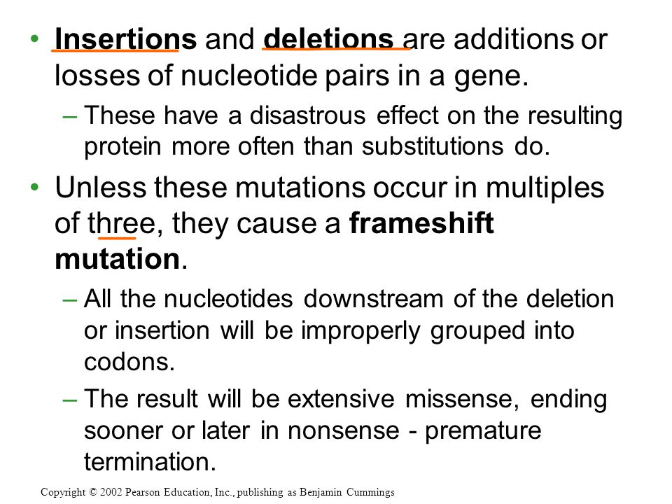 Insertions and deletions are additions or losses of nucleotide pairs in a gene.