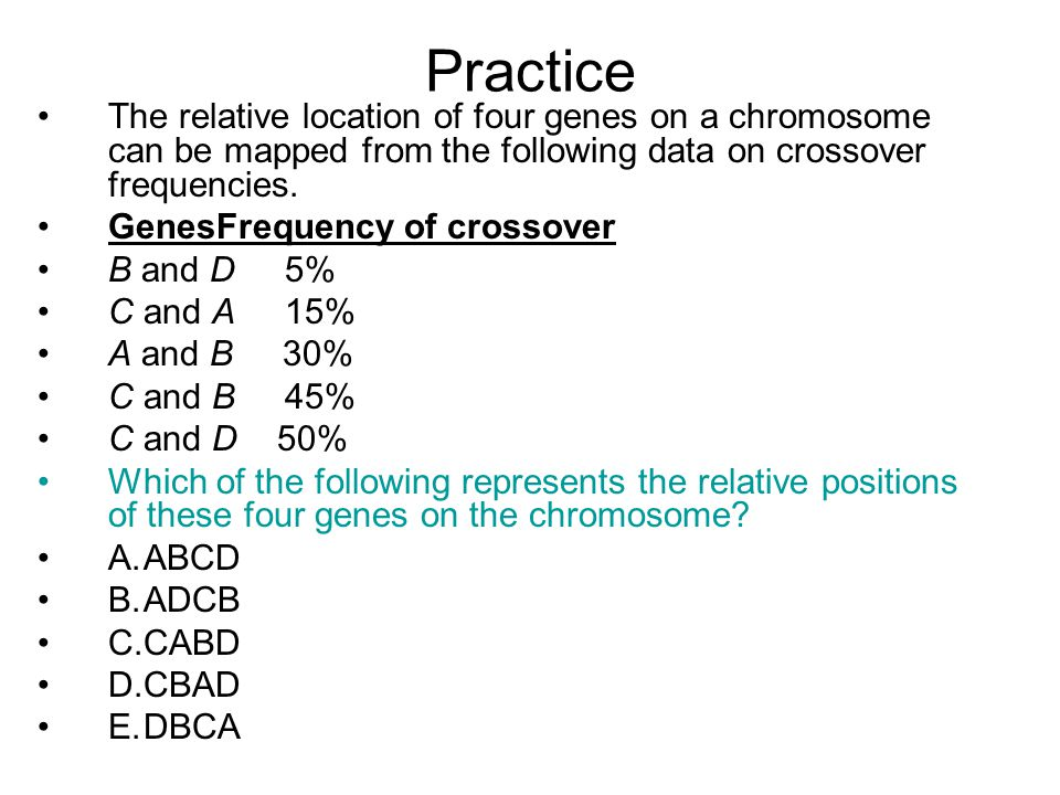 Practice The relative location of four genes on a chromosome can be mapped from the following data on crossover frequencies.