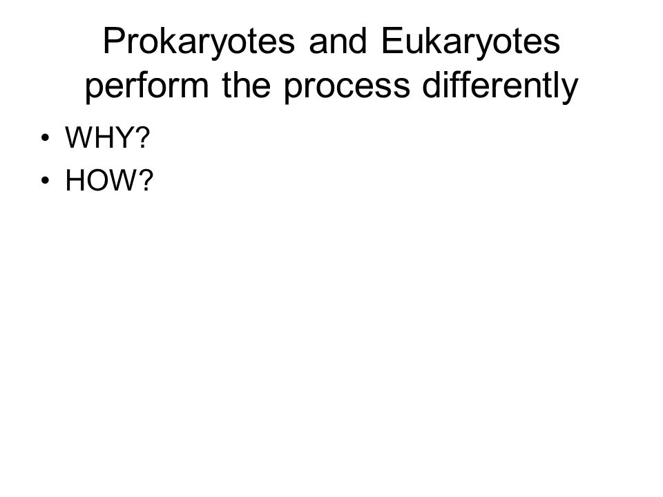 Prokaryotes and Eukaryotes perform the process differently