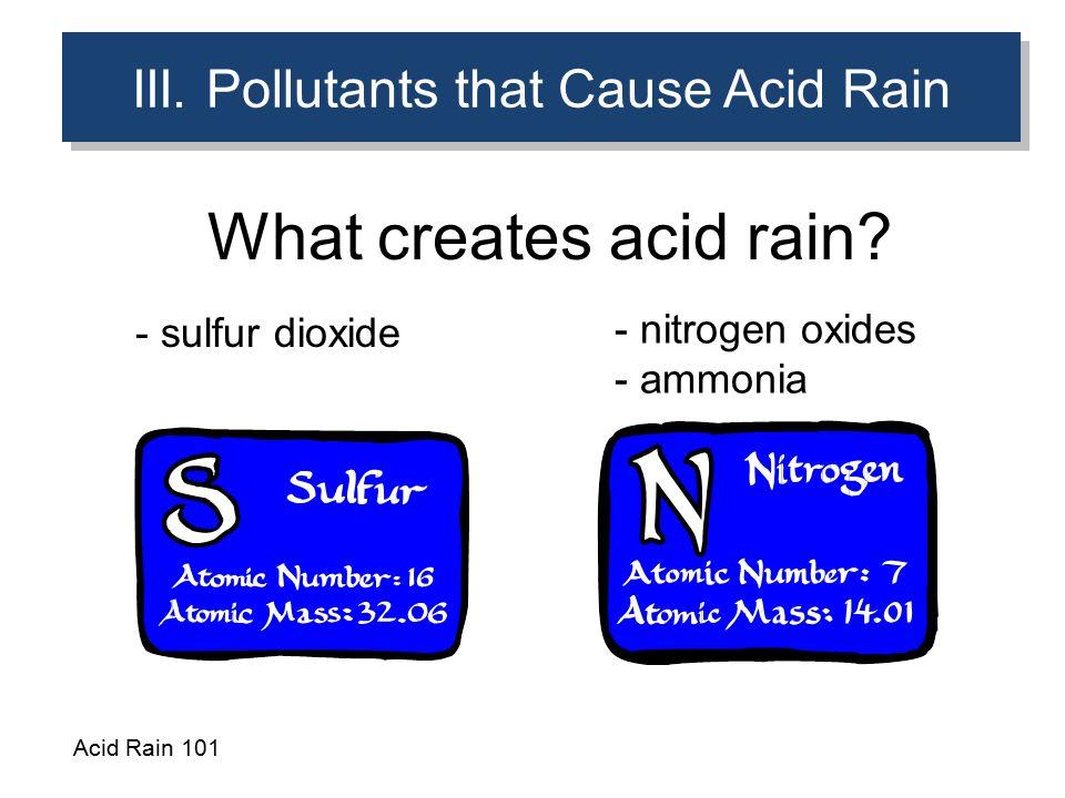 III. Pollutants that Cause Acid Rain