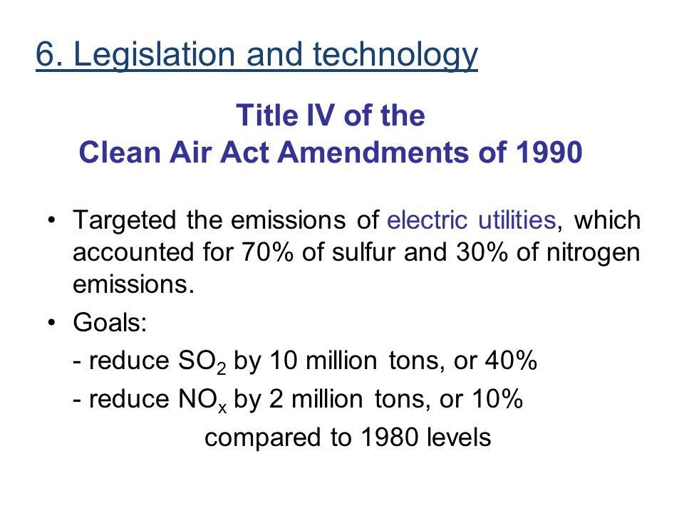 Title IV of the Clean Air Act Amendments of 1990