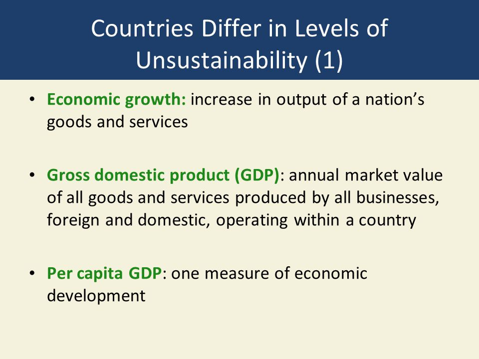 Countries Differ in Levels of Unsustainability (1)