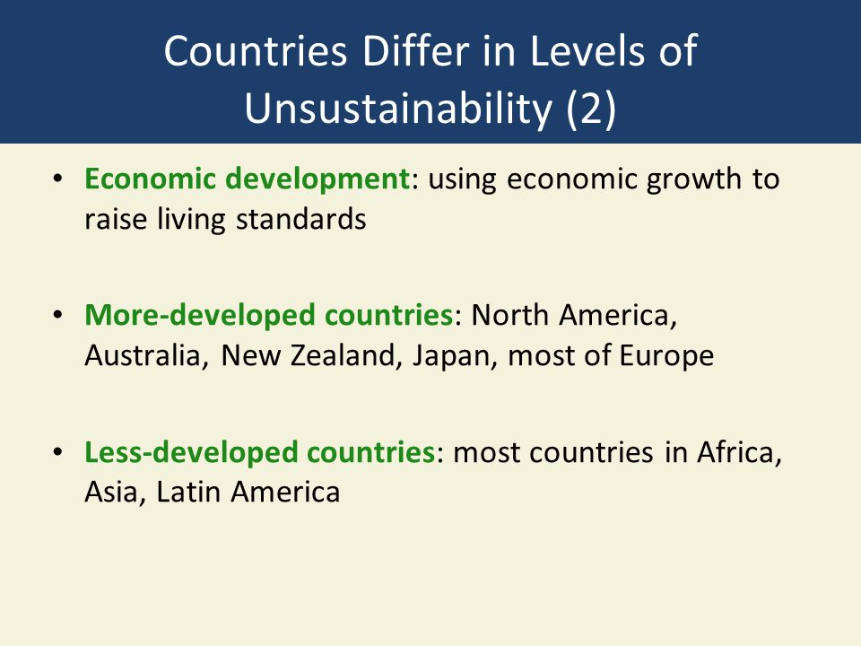 Countries Differ in Levels of Unsustainability (2)