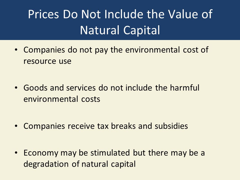 Prices Do Not Include the Value of Natural Capital