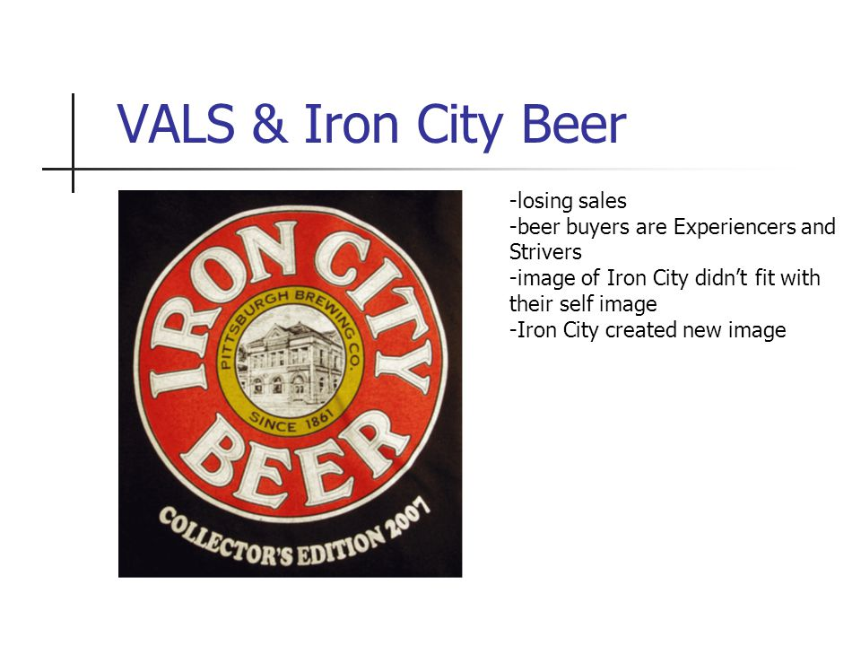VALS & Iron City Beer -losing sales -beer buyers are Experiencers and